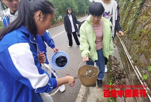 云南大关县职中爱国卫生运动团员在行动